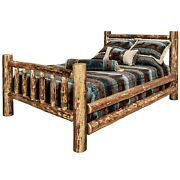 Log Bed Queen Size Amish Made Solid Pine Beds Rustic Cabin Furniture