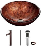 Vessel Sink Glass Rust Resistant In Copper With Faucet In Oil Rubbed Bronze