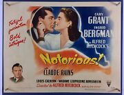 Notorious Movie Poster Half Sheet And03946 Cary Grant Alfred Hitchcock Paperbacked
