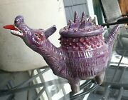 "Studio art pottery "" game of thrones"" Dragon lidded ceramic pot."