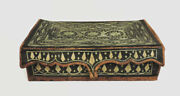 Scarce Antique 1800's Extremely Ornate Handmade Leather Document Box Hand Woven