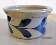 small stoneware pottery  bowl with blue design b-4