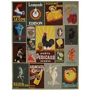 Safavieh Chelsea Vintage Poster Rooster Sage Wool Area Rug 7and039 9 X 9and039 9