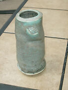 Art Pottery Vase Hand Thrown Signed Beautiful Color Heavy Piece Turquoise Tall