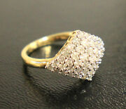 14k Yellow Gold Cluster Diamond Ring .95 Cts Diamonds Prong Dome Ring Sz 6.5