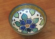 "Vintage Gouda Pottery 6"" Footed Bowl Zuid Holland Sydney Pattern 1920's Nice!"