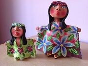 2 (Pair) Art Studio Pottery Clay Handmade Painted dolls Detailed Gallery Quality