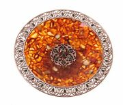 Natural Baltic Amber And Bronze. Plate. Tm2