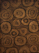 Brown Southwestern Synthetics Loops Slices Stumps Area Rug Circles 750-05943