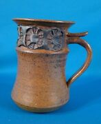 "Studio Pottery Art Hand Crafted Signed Mug 5 1/2"" Tall"