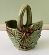 VINTAGE MCCOY BASKET / VASE PLANTER WITH RED BERRIES AND GREEN BANANA LEAVES