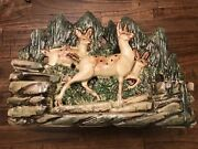 Large Vintage McCoy Pottery Planter With 3 Sculptural Deer In The Forest