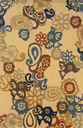 Beige Wool Flowers Paisley Stylized Floral Area Rug 87104 - Aprx 10and039 X 13and039