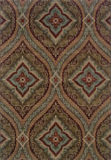Brown Transitional Synthetics Diamonds Medallions Stripes Area Rug Floral 4145e