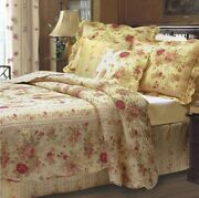 Queen Full Quilt Set Antique Roses Shabby Cottage Chic Floral Cotton Bedding