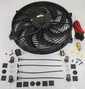 14 Universal S-blade Electric Radiator Cooling Fan + 210 Thermostat Relay Kit