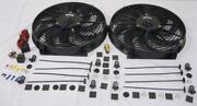 Dual 14 Heavy Duty S-blade Electric Radiator Cooling Fans + 210 Thermostat Kit