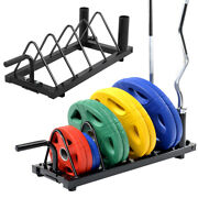 Horizontal Weight Barbell Rack Olympic Bumper Bar Holder│weight Plate Storage