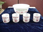 Set Of 4 Anchor Hawking Milk Glass Tom And Jerry Mugs 3 Cups And 9 Bowl