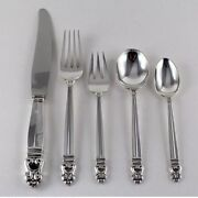 New Royal Danish Sterling Silver Flatware Five Piece Place Settings