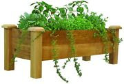 Planter Box 48 In. X 18 In. Western Red Cedar Wood Rustic With Fabric Liner