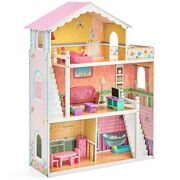 Kids Large Wooden Dollhouse W/ 17 Pieces Of Furniture Accomodates 14 Inch Dolls