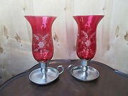 11 Pair Steiff Pewter Candle Stick Etched Cranberry Glass Hurricane Lamp Mib