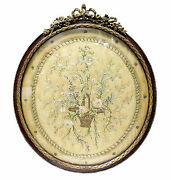 Antique Framed Embroidery Hand Stitched Framed Gold Silk Pastel Threads C 1800