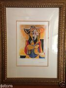 Picassoand039s Lithograph Limited Edition Seated Women With Yellow And Green Hat