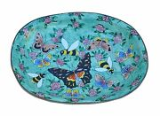 Art Gifts Enamel Copper Hand Painted Soap Jewelry Dish Plate Tray Butterfly Bee