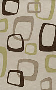 Brown Rectangles Circles Boxes Squares Transitional Area Rug Abstract Tr22