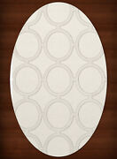 White Transitional Rings Loops Area Rug Circles Dv14
