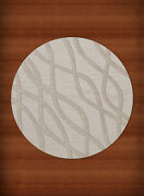 Ivory Transitional Hand Hooked Swirls Lines Stripes Area Rug Abstract Dv10