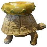 Midcentury Whimsical Terra Cotta Style Turtle Form Garden Stool From Italy