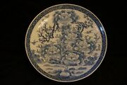Real Japanese Old Imari High-class Blue-and-white Porcelain Plate In 19c 22 Big