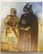 Dave Prowse And Jeremy Bulloch Signed Star Wars 18x22 Canvas Beckett Vader Fett