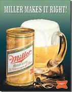 Miller Makes It Right High Life Cans Frosty Mug Tin Metal Beer Sign Made In Usa