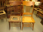 2 Antique Pressed Back Chairs W/ Rope Twist Spindles - For Restoration