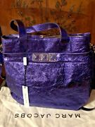 New Marc Jacobs Calfskin Leather Large Metallic Purple Shoulder Bag Tote W/ Tag