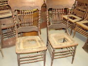 57 - 2 Antique Pressed Back Chairs W/ Rope Twist Side Posts - For Restoration