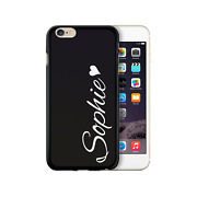 Personalised White Heart Side Name On Black Silicone Gel Phone Case Custom Text