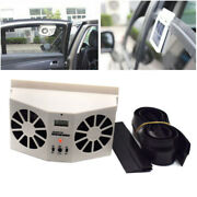 Ivory Solar Powered Car Front/rear Window Air Vent Cool Cooler Dual Fan Superb