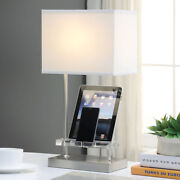 Britt Table Lamp Lighting Led Usb Power Dock Media Holder Clear Acrylic Nickel