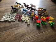 Lot Of 59 Marx Tim Mee 1950and039s Plastic Toy Animals Horses Indians Fence Farmer