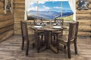 Farmhouse Style Dining Table Four Chairs Set Amish Made Rustic Pine Furniture