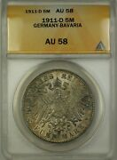1911-d Germany-bavaria 5m Five Marks Silver Coin Anacs Au-58