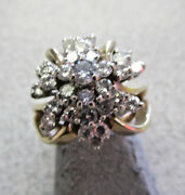 Beautiful Diamond Cluster Cocktail Ring Vs1 G/h 1.00 Ctw 14k Size 5.5 Make Offer