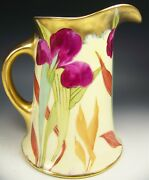 Beautiful Large Limoges Hand Painted Iris Pitcher