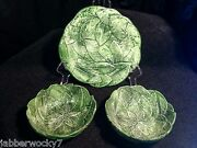 1960andrsquos Vintage Italian Green Leaf Majolica Potteryplate 2 Bowls Made In Italy