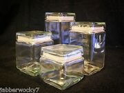 Vintage Look Set Of Four 4 Square Glass Canisters Containers Lids Candy Jars